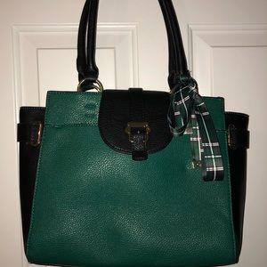 Pretty green & black bow tote purse
